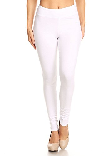 (2ND DATE Women's Basic Cotton Stretch Leggings with Comfort Waistband-White-Medium)