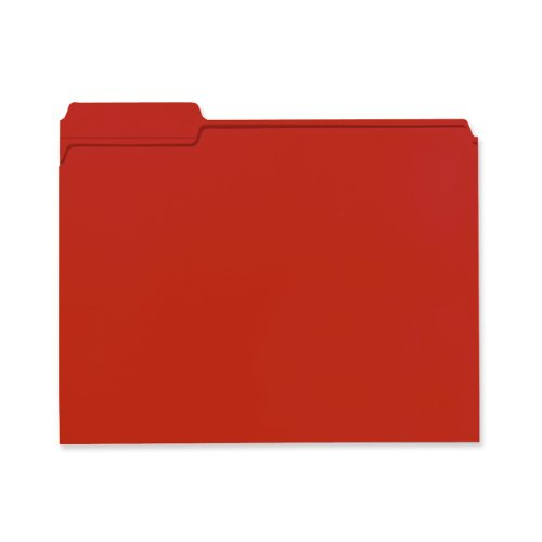Smead 100% Recycled File Folder, Reinforced 1/3-Cut Tab, Letter Size, Red, 100 per Box (12738) by Smead