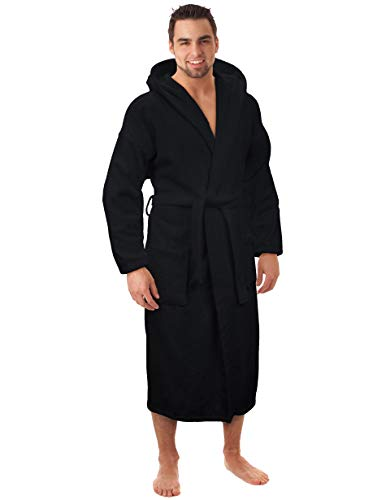 (Hooded Terry Bathrobe for Women and Men, Turkish Cotton Terry Cloth Robe (Black, Large))