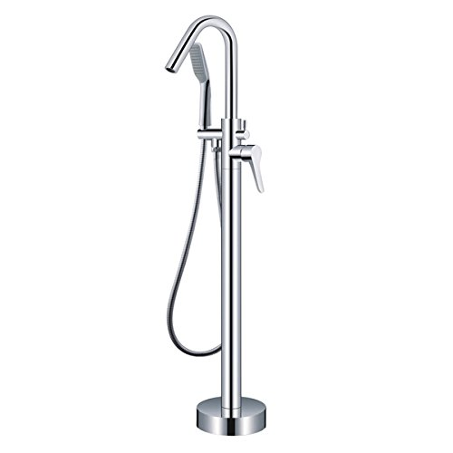85%OFF One Handle with Diverter Floor Mount Tub Filler Faucet with Hand Shower Chrome Finish Freestanding