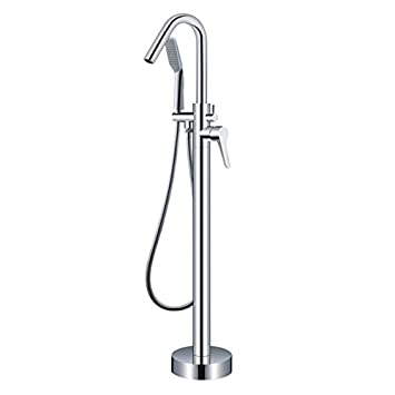 One Handle With Diverter Floor Mount Tub Filler Faucet With Hand Shower  Chrome Finish Freestanding