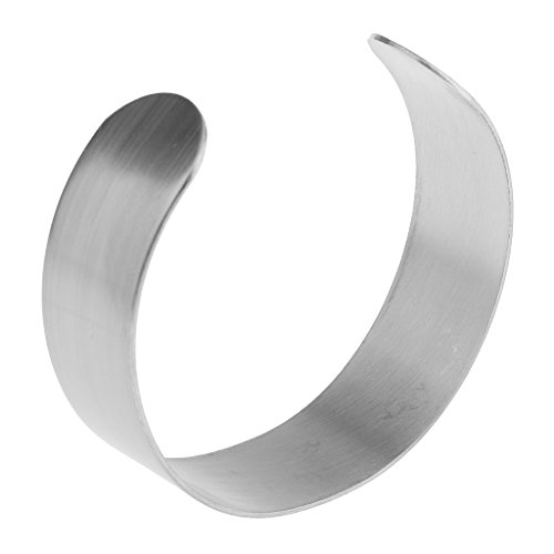 Fityle Unfinished Silver Stainless Steel Bangle Bracelet Base for DIY Jewelry Making Crafts - Silver, 2cm