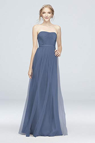 Style-Your-Way 6 Tie Tulle Long Bridesmaid Dress Style F19958, Steel Blue, 6