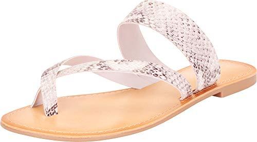 (Cambridge Select Women's Thong Toe Crisscross Strappy Slip-On Flat Slide Sandal,8.5 B(M) US,Beige Python PU)