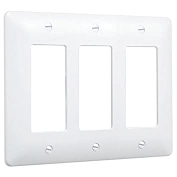 Taymac 5550W Paintable Masque Wall Plate Cover, White, 3 Gang