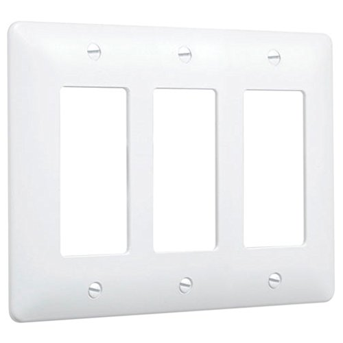TayMac 5550W Paintable Masque Wall Plate Cover, White, 3-Gang