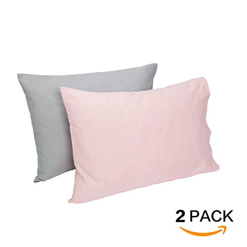 TILLYOU Cotton Collection Soft Toddler Pillowcases Set of 2, 14x20 - Fits Pillows Sized 12x16, 13x18 or 14x19, Machine Washable Travel Pillow Case Cover with Envelope Closure, Gray & ()