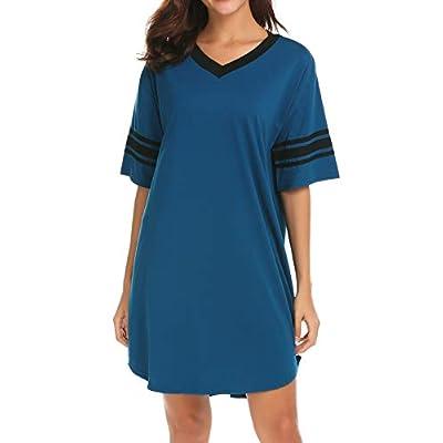 Ekouaer Women's Nightgown, Cotton Sleep Shirt V Neck Short Sleeve Loose Comfy Pajama Sleepwear S-XXL at Women's Clothing store