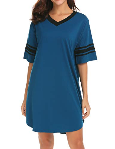 Ekouaer Women's Nightgown Cotton Sleep Shirt V Neck Short Sleeve Loose Comfy Pajama Sleepwear,A_blue,X-Large (Cotton Nightshirt)