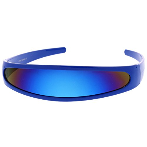 zeroUV - Futuristic Narrow Cyclops Color Mirrored Lens Visor Sunglasses (Blue / - Lenses Contact Cyclops
