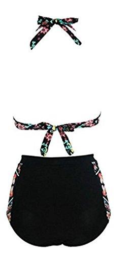 YOGLY Mujeres Traje De Baño Cintura Alta Vintage Floral Impresión Push Up Bikini Bañadores Dos Piezas