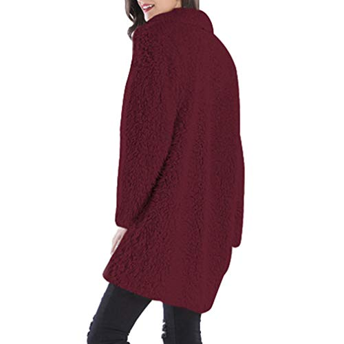 Coat Solid Vino Yying Loose Long Outwear Knitted Sleeve Cardigan Rosso Donna Warm nBpw8g