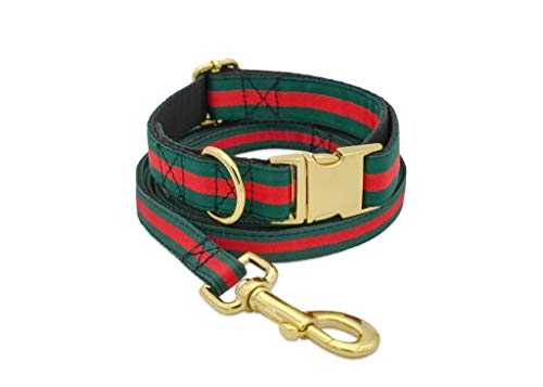 Designer Dog Collar and Leash Set, Adjustable with Gold Metal Hardware for Small Medium Large Dogs, 1'' Wide in Green, Red, Black (Designer Dog Collar And Leash)