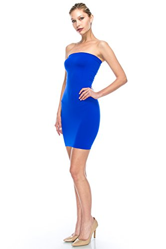 M Tube cobalt XXL XL XL M Comfort XS L Stretchy Sexy in L Neon Made Strapless Dress Mini USA Kurve Fuschia R68XqX