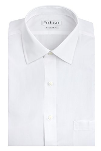 Van Heusen Men's Poplin Regular Fit Solid Spread Collar Dress Shirt, White, 18