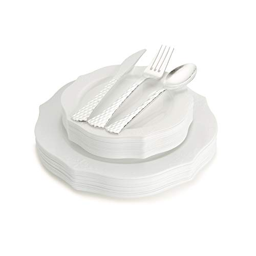 (100 Piece Elegant White Disposable Plastic Plates & Plastic silverware Set Heavyweight Place Setting   Service For 20 Guests Includes 20 Dinner Plates 20 Dessert Plates 20 Forks 20 Spoons 20 Knives)