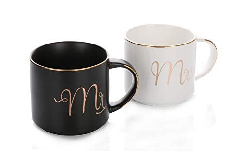 Grature Couples Mr and Mrs Coffee Mug Gift Set| His and Hers Bride and Groom Newlywed Wedding Present| Unique and Cute Bridal Shower, Engagement, Registry or Anniversary Idea| Black White & Gold