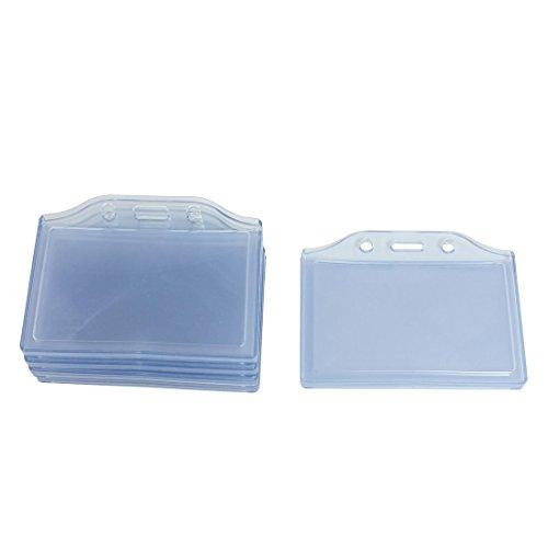 Office Horizontal 2 Pockets ID Card Badge Holder, 5 Pcs, Clear Blue