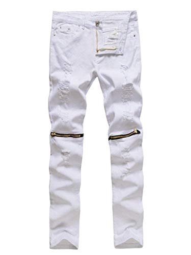 Solid Uomo Regular Da White1 Stretch Vintage Pantaloni Jeans Pants Slim Casual Look Color Distrutto Denim Fit Fashion HE0nwn5q7