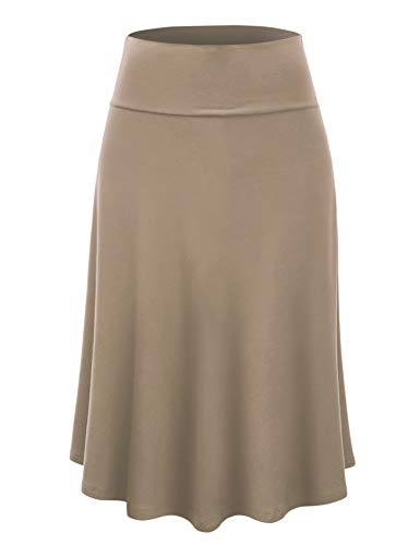 - Lock and Love LL WB1105 Womens Lightweight Fold Over Flared Midi Skirt L Taupe