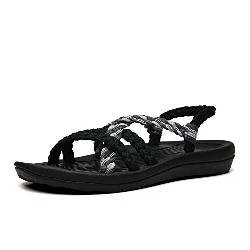 QLEYO Women's Comfortable Flat Walking Sandals with Arch Support Waterproof for Walking/Hiking/Travel/Wedding/Water Spot/Beach. 19ZDQL02-W17-5 Black Grey