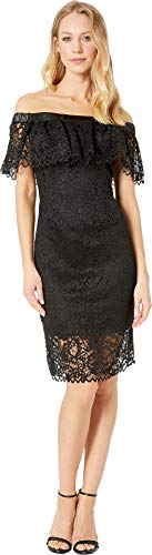 Betsey Johnson Cocktail Dresses - Betsey Johnson Women's Off The Shoulder Lace Dress Black 8