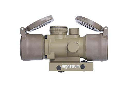 Monstrum S330P 3X Prism Scope | Flat Dark Earth with Flip-Up Lens Covers (Mossberg 590 Best Price)