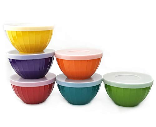 Melamine Fluted Bowls Set with Lids - 6pcs 17.5 oz Cereal/Soup/Prep Bowls, 6 Assorted Color | Break-resistant 100% Melamine Bowls and Plastic Lids | Dishwasher Safe, BPA Free