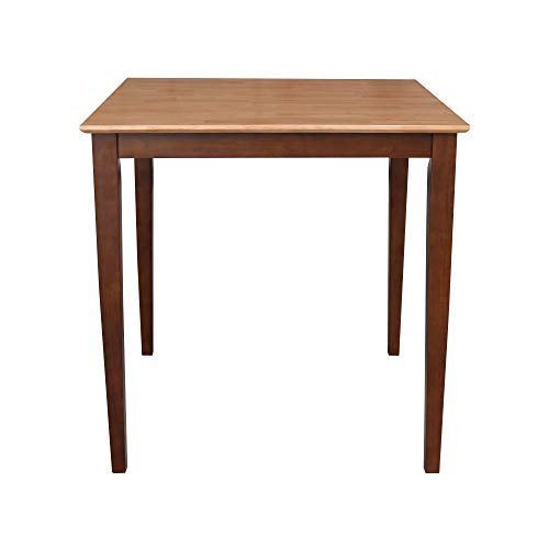 International Concepts Solid Wood Dining Table with Shaker Legs, 36 by 36 by 36-Inch, Cinnemon/Espresso