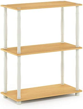 Furinno Turn-N-Tube 3-Tier Compact Multipurpose Shelf Display Rack, Classic, Beech White