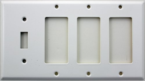 Smooth White Four Gang Wall Plate - One Toggle Switch Three GFI/Rocker Openings