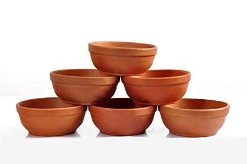 Odishabazaar Bowl Set Handcrafted Terracotta Pottery Clay Katori/Serving -