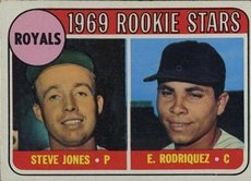 1969 Topps Card (1969 Topps Regular (Baseball) Card# 49 Jones/Rodriquez var of the Kansas City Royals Ex Condition)