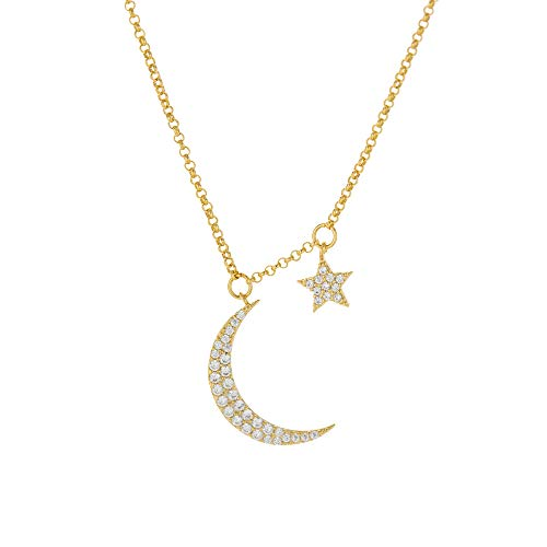 Columbus 14K Gold Dipped Moon and Star Pendant Necklace - Moon and Star Charm Necklace (Gold)
