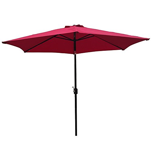 Palm Springs 9ft Aluminium Patio Umbrella w/Tilt (Burgundy)