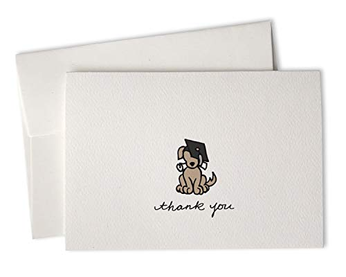 Graduation Thank You Notes (Grad Dog Eco-Friendly Premium Textured Graduation Thank You Cards - For Graduates and Students - Hand-Drawn Thank You Notes by Sugartown Greetings - 24 Cards with)