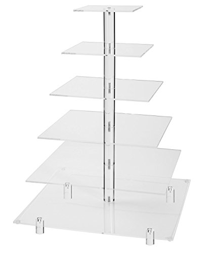 Jusalpha Large 6 Tier Wedding Party Square Cupcake Stand-Cake Stand-Cupcake Tower-Dessert Display Stand (Large 6 Tier With Base)