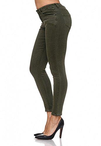 Con Da Arizonashopping Jeans Motivi Floreali D2083 Ricamo Floreale Donna Treggings Oliva nt5trfW