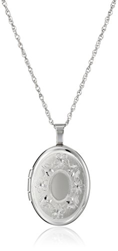 Sterling Silver Oval Hand-Engraved Locket Necklace, 18