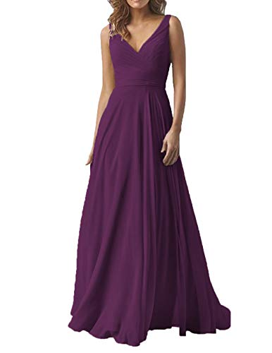 Plum Evening Formal Bridesmaid Dresses Long V-Neck Chiffon Wedding Party Gown for Women 2019 ()