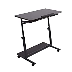 Hstore Mobile Side Table Wheels, Adjustable Portable Laptop Computer Stand For Bed Sofa Couch Mobile Snack Table With Bookcase Storage Rack Us Stock (black)