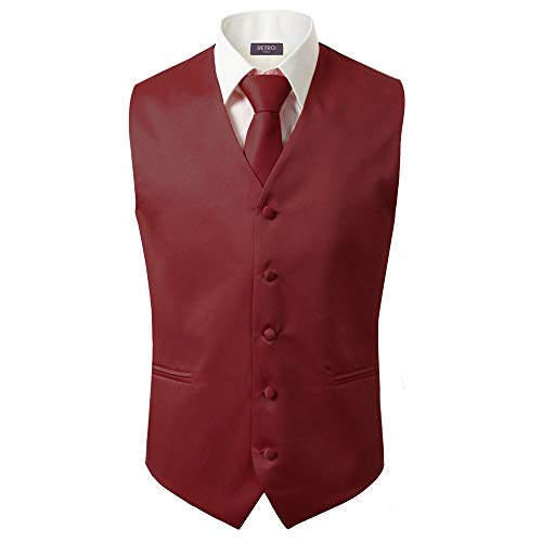 3 Pcs Vest + Tie + Hankie Men's Fashion Formal Dress Suit Slim Tuxedo Waistcoat Coat (X-Large, Burgundy)