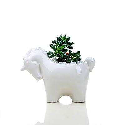 Horse Planter Pot, Modern Minimalist White Ceramic Succulent Mini Planter Pot (1, Horse) : Garden & Outdoor