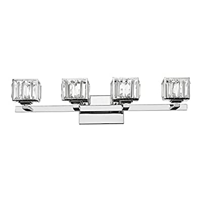 "Chloe Lighting CH820038CM29-BL4 Contemporary 4 Light Chrome Finish Crystal Globe Bath Vanity Wall Fixture 29"" wide"