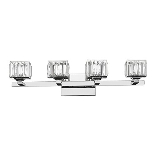 Chloe Lighting CH820038CM29-BL4 Contemporary 4 Light Chrome Finish Crystal Globe Bath Vanity Wall Fixture 29