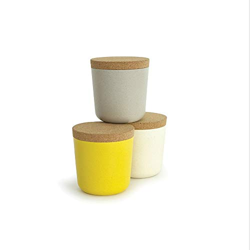 EKOBO Bamboo 16oz Storage Jar Set, 3 Pack, Gift Box, BIOBU Eco-material, Ø 3 1/8 x 3 1/3'', Assorted - Set Jar Gift