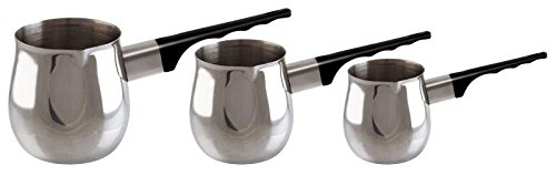 Euro-Ware 3 Piece Stainless Steel Turkish Coffee Set with Heat Resistant Durable Handles, Silver 306