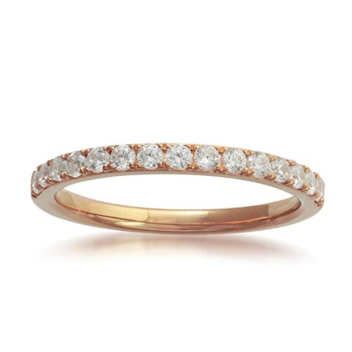 10k Rose Gold Diamond Semi-Eternity Wedding Band Ring (1/3 cttw, H-I Color, I2-I3 Clarity) ()