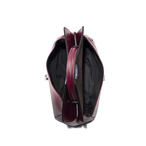 vitello manico MusaBorsa il bordeaux cm con per vera indossare rigido 30x20x14 a pelle mano in di 4jA5RL