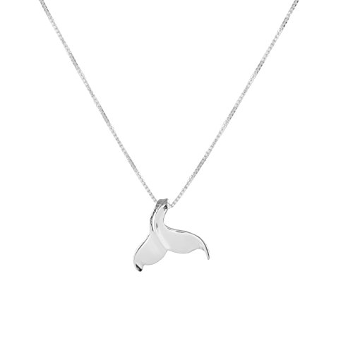 Whale Tail Hawaiian (Sterling Silver Curved Whale Tail Pendant Necklace (sterling-silver))